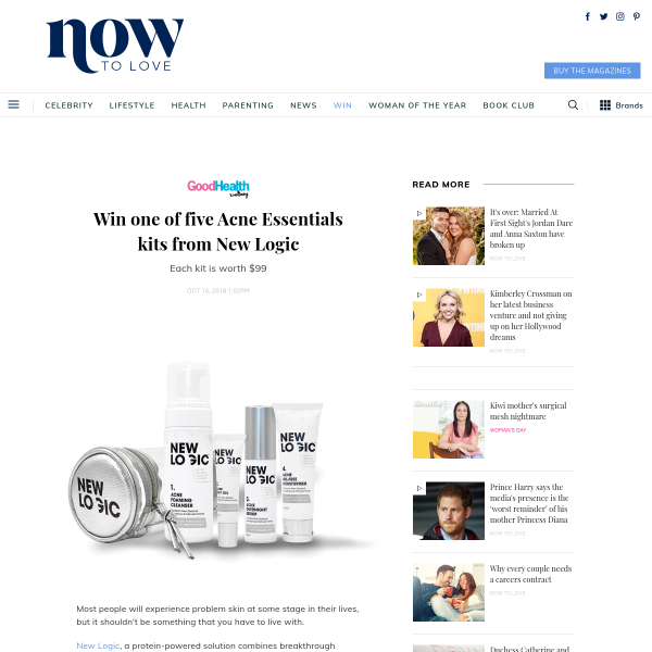 Win 1 of 5 Acne Essentials kits from New Logic