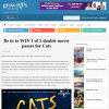 Win 1 of 5 double movie passes for Cats