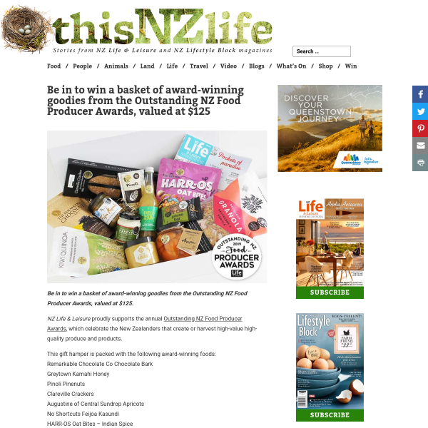 Win a basket of award-winning goodies from the Outstanding NZ Food Producer Awards