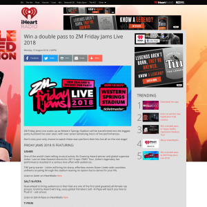 iHeart Radio NZ - Win a double pass to ZM Friday Jams Live 2018