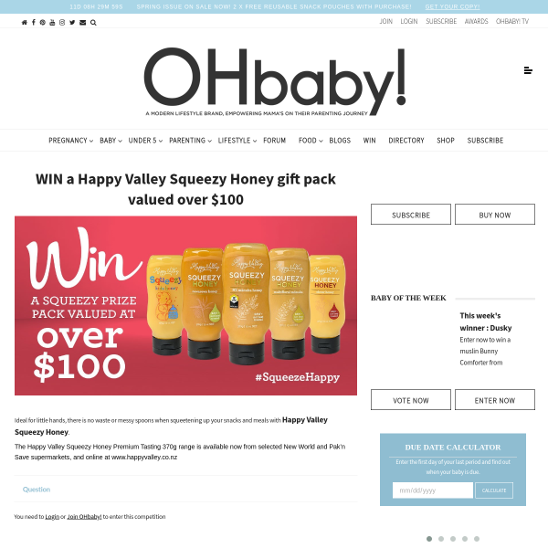 Win a Happy Valley Squeezy Honey gift pack