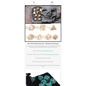 Win a Metal Dice Set + Wooden Skull Box