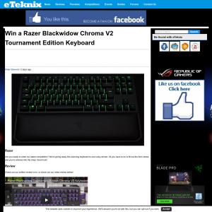 eTeknix - Win a Razer Blackwidow Chroma V2 Keyboard - Competitions co nz