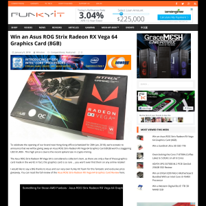 Win an Asus ROG Strix Radeon RX Vega 64 Graphics Card