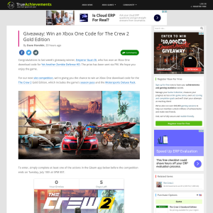 True Achievements - Win an Xbox One Download Code for The Crew 2