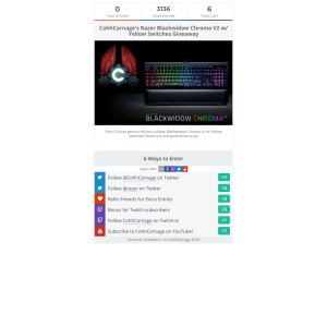 CohhCarnage - Win CohhCarnage's Razer Blackwidow Chroma V2 w/ Yellow