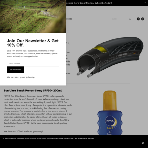 Win cycle tyres and sunscreen
