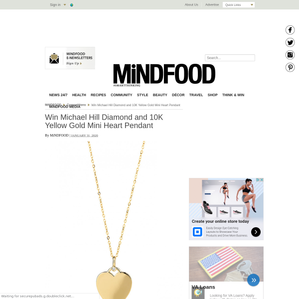 Win Michael Hill Diamond and 10K Yellow Gold Mini Heart Pendant