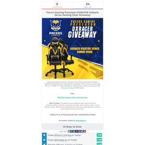 Win Pacers Gaming Preseason DXRACER Valkyrie Series Gaming Chair