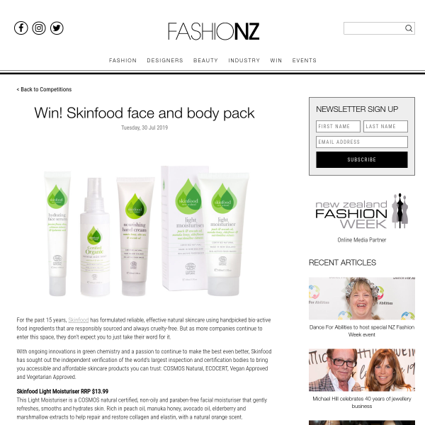 Win Skinfood Face and Body Pack