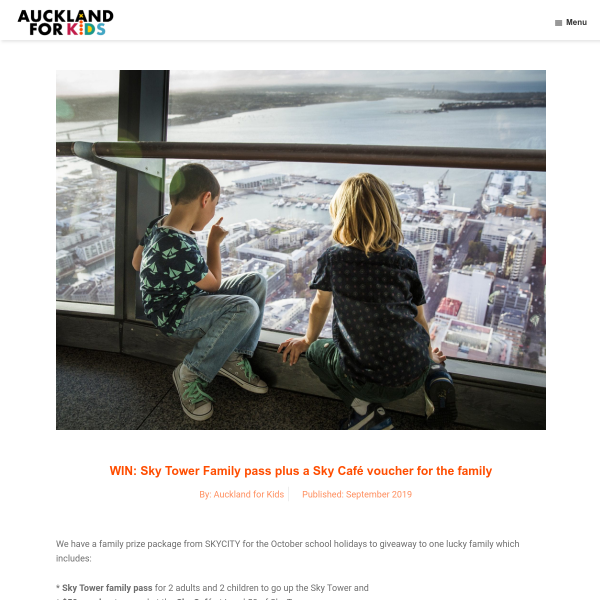 Win Sky Tower Family pass plus a Sky Café voucher for the family