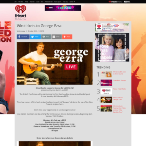 iHeart Radio NZ - Win tickets to George Ezra - Competitions co nz