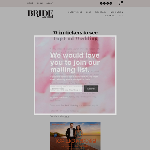 Win tickets to see Top End Wedding