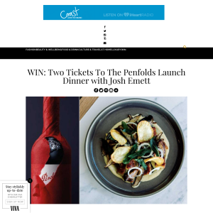 Win Two Tickets To The Penfolds Launch Dinner with Josh Emett